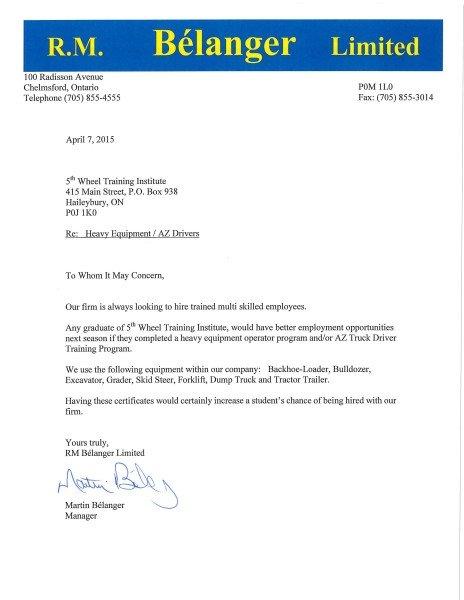 Belanger Endorsement, AZ training Ontario