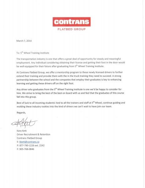 Contrans Endorsement, Ontario truck training
