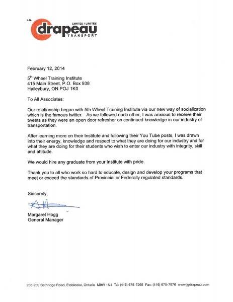 JG Drapeau Endorsement, Ontario trucking school